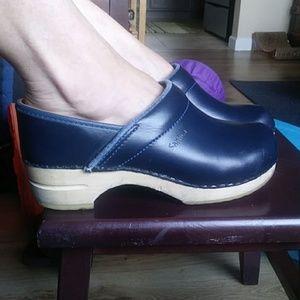Sanita Navy Blue Leather Clogs, Wood Soles